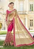 Pink Biege Party Wear Sarees