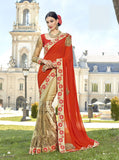 Orange Biege Party Wear Sarees