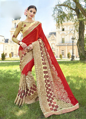 Red Biege Party Wear Sarees