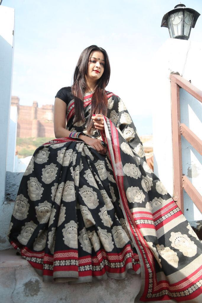 Black Chanderi Cotton Sarees