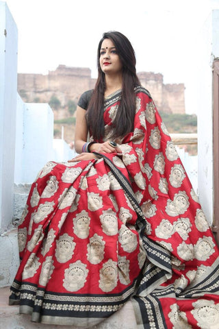 Red Chanderi Cotton Sarees