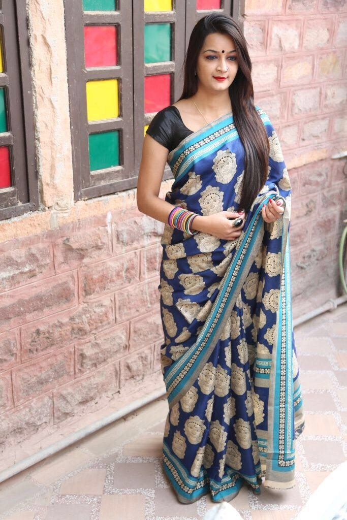 Blue Chanderi Cotton Sarees
