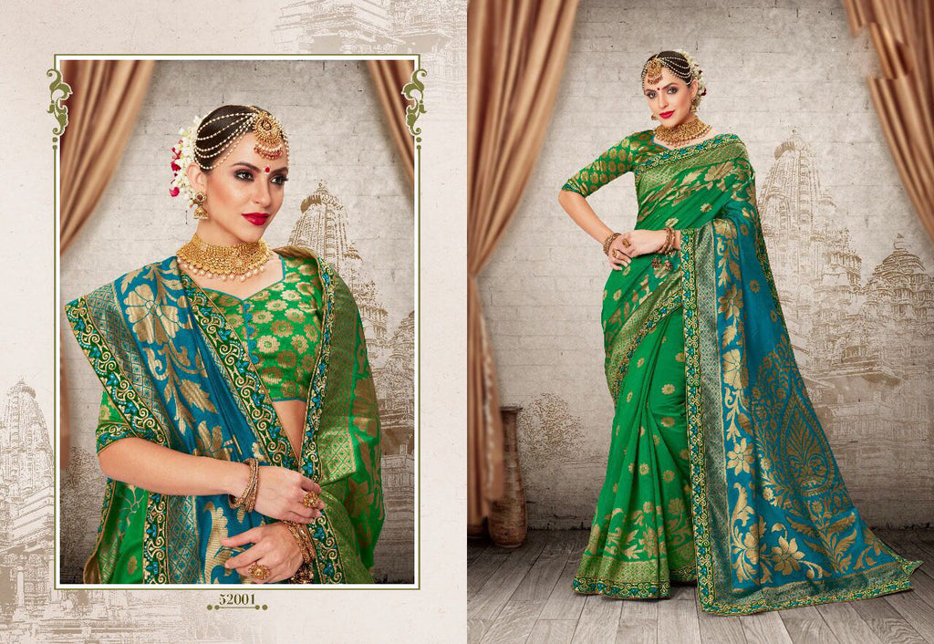 Green Party Wear Sarees