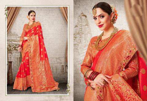 Orange Golden Party Wear Sarees