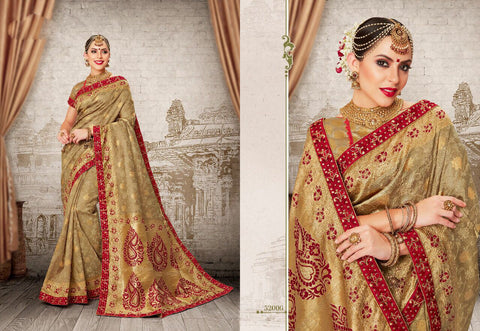 Golden Maroon Party Wear Sarees