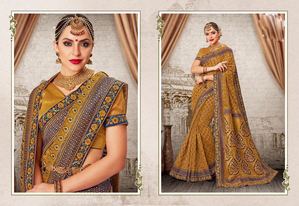 Yellow Grey Party Wear Sarees