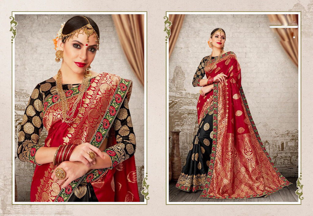 Red Black Party Wear Sarees