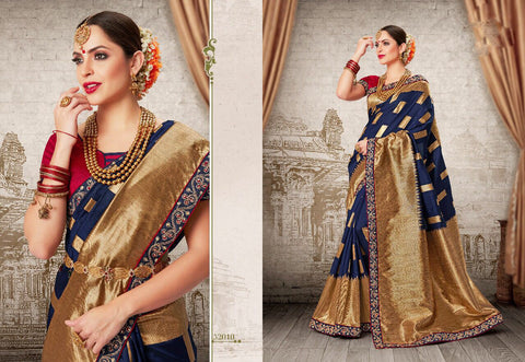 Blue Red Party Wear Sarees