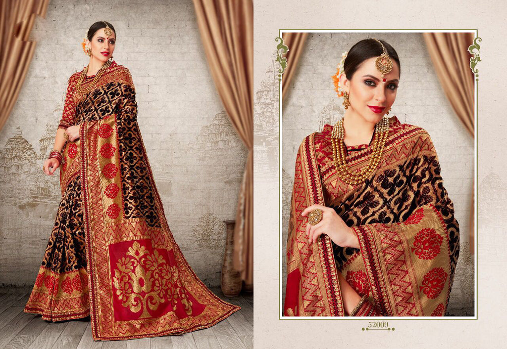 Black Red Party Wear Sarees