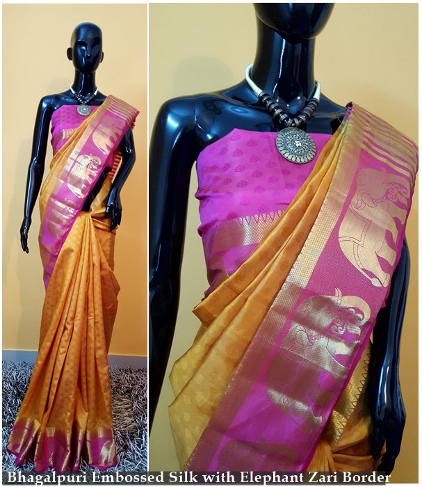 Pink Yellow Kanchivaram Silk Sarees