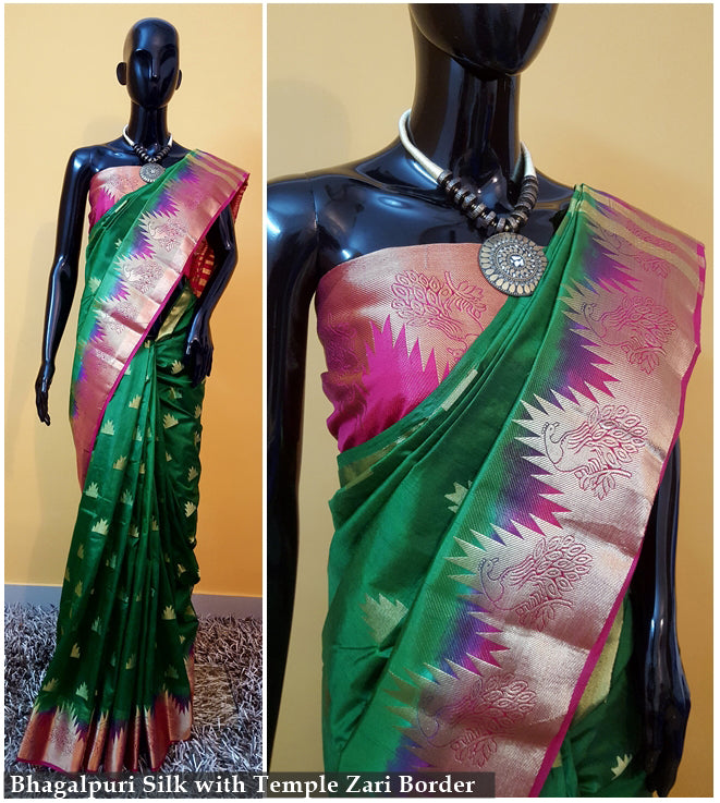 Green Pink Kanchivaram Silk Sarees