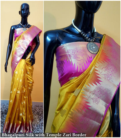 Yellow Pink Kanchivaram Silk Sarees