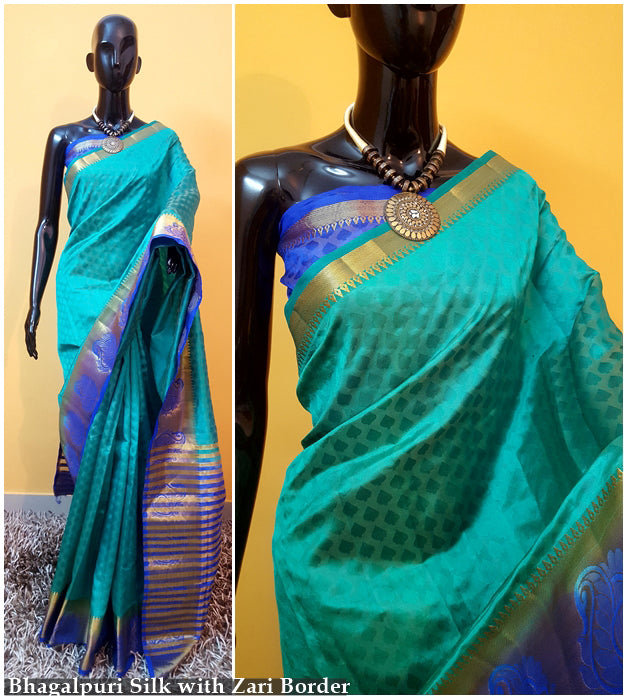 Blue Silver Kanchivaram Silk Sarees