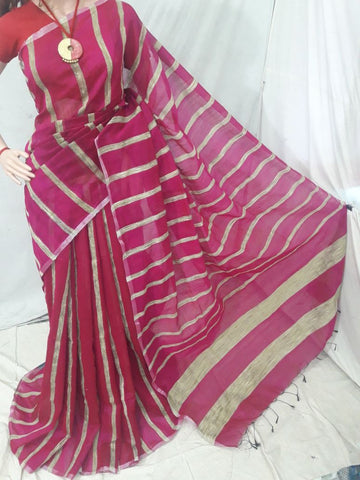 Pink Handloom Ghicha Sarees (Add to Cart Get 15% Extra Discount)