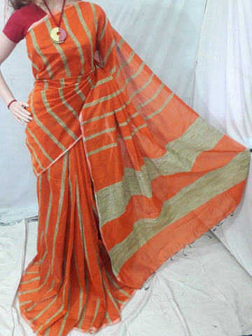 Orange Handloom Ghicha Sarees