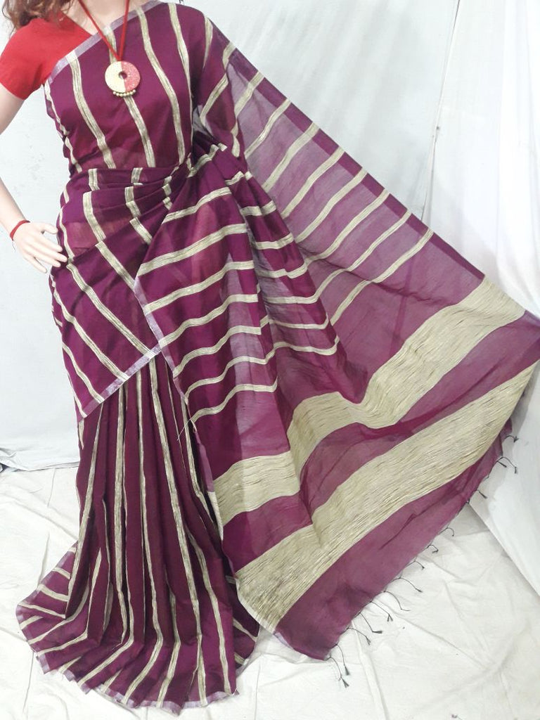 Purple Handloom Ghicha Sarees (Add to Cart Get 15% Extra Discount)