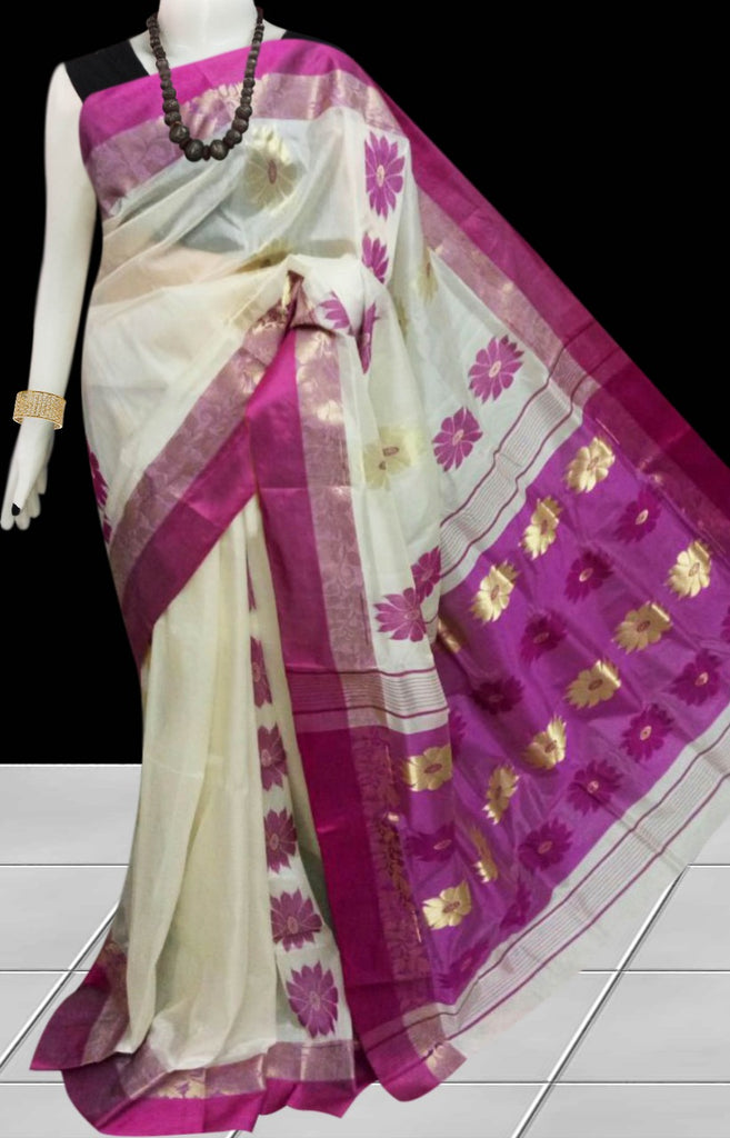 Purple Beige Garad Silk Sarees