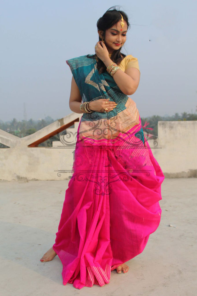 Pink Blue Handloom Ghicha Sarees (Add to Cart Get 20% Extra Discount)