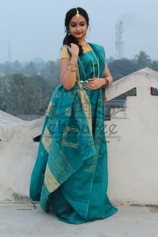 Green Handloom Ghicha Sarees (Add to Cart Get 20% Extra Discount)