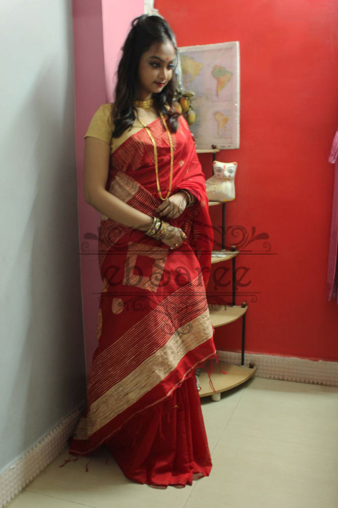 Red Handloom Ghicha Sarees (Add to Cart Get 15% Extra Discount)