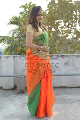 Green Orange Handloom Ghicha Sarees