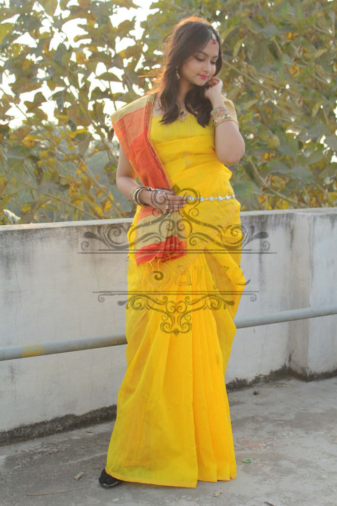 Yellow Handloom Ghicha Sarees (Add to Cart Get 15% Extra Discount)