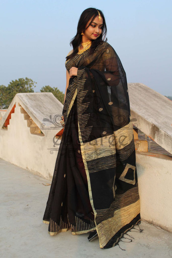 Black Handloom Ghicha Sarees (Add to Cart Get 20% Extra Discount)