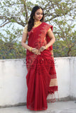 Red Handloom Ghicha Sarees (Add to Cart Get 20% Extra Discount)