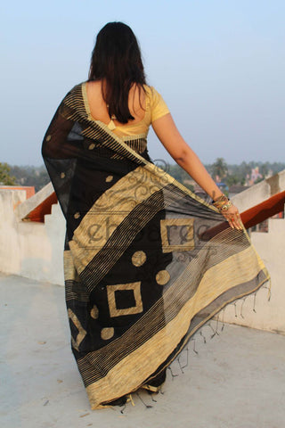 Black Handloom Ghicha Sarees (Add to Cart Get 15% Extra Discount)