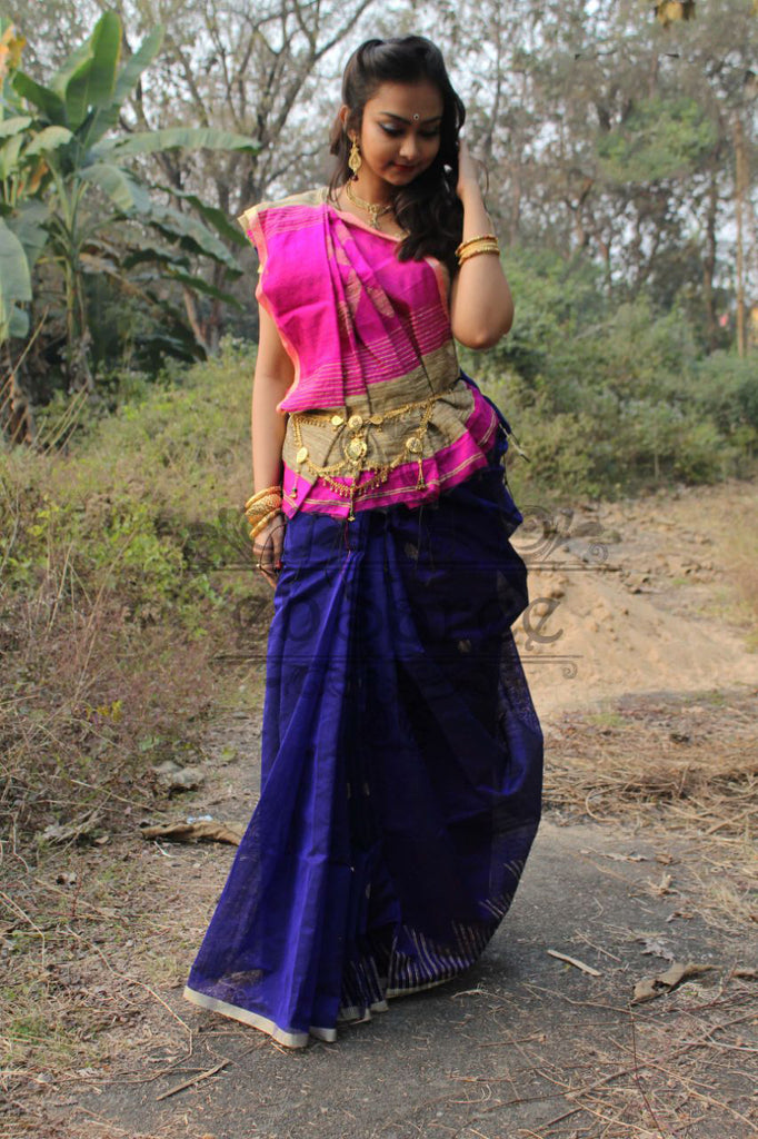 Blue Pink Handloom Ghicha Sarees (Add to Cart Get 20% Extra Discount)