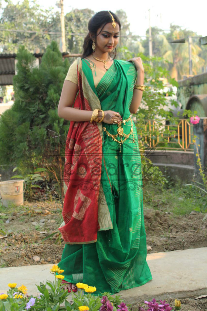 Green Handloom Ghicha Sarees (Add to Cart Get 15% Extra Discount)