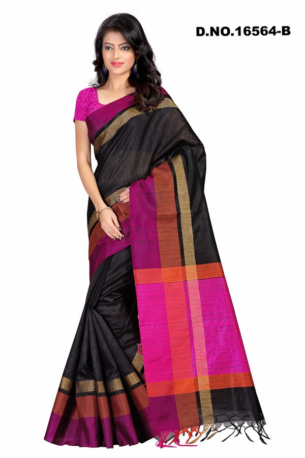 Black Raw Silk Sarees