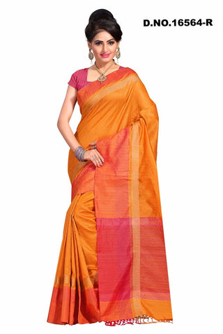 Orange Raw Silk Sarees