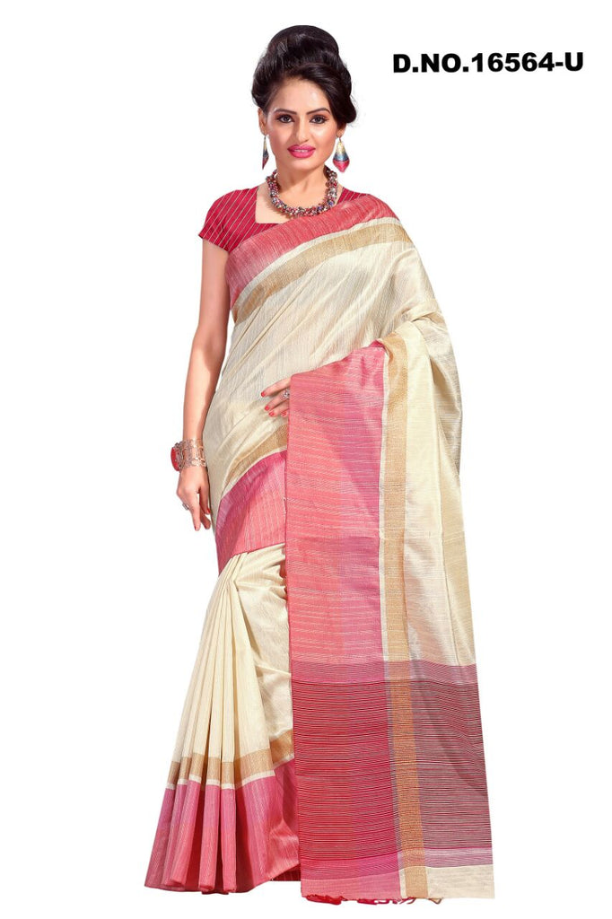 Beige Raw Silk Sarees