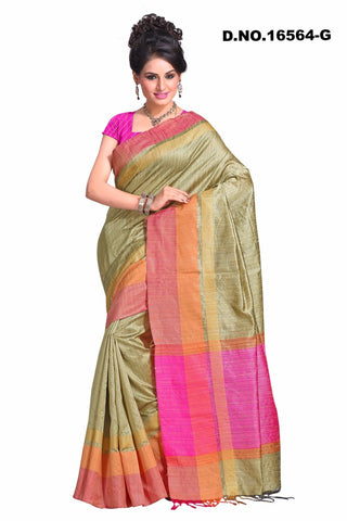 Grey Green Raw Silk Sarees