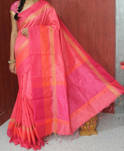 Pink Raw Silk Sarees