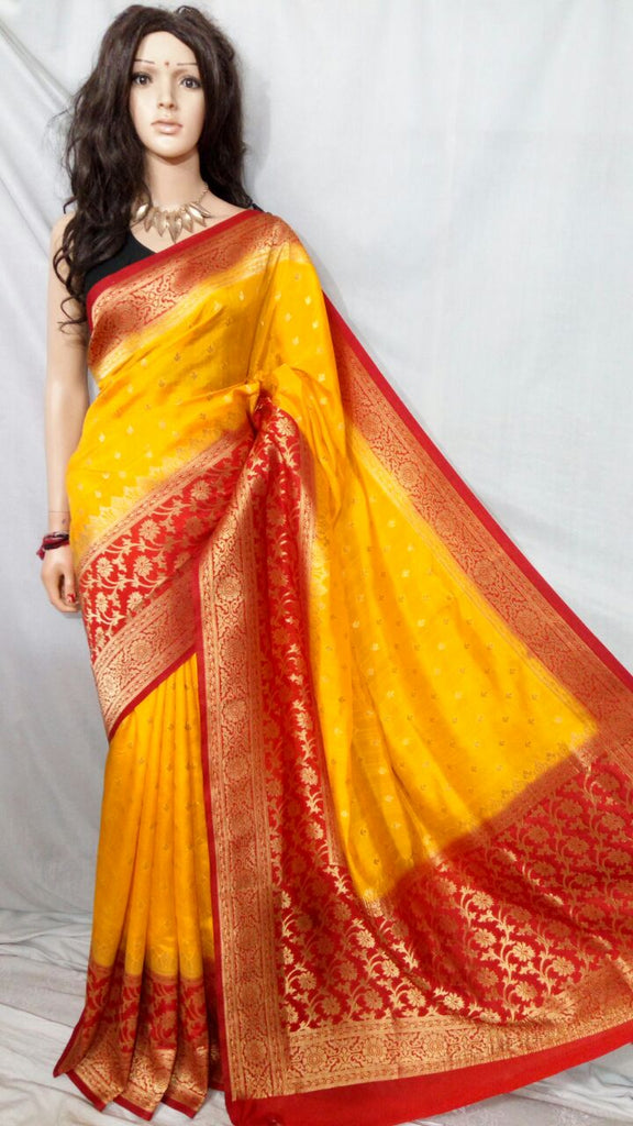 Yellow Red Maheshmati Silk Sarees
