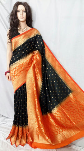 Black Orange Maheshmati Silk Sarees