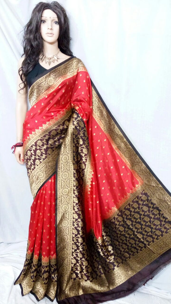 Red Golden Maheshmati Silk Sarees