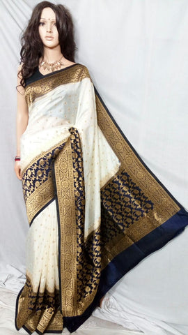Brown White Maheshmati Silk Sarees