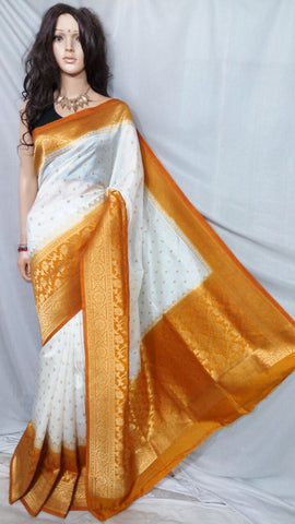 Yellow White Maheshmati Silk Sarees