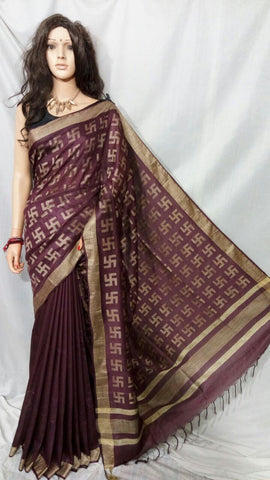 Brown Bhagalpuri Silk Sarees