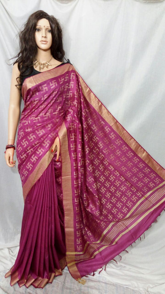Purple Bhagalpuri Silk Sarees
