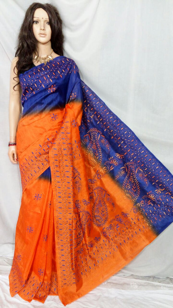 Orange Blue Bhagalpuri Silk Sarees