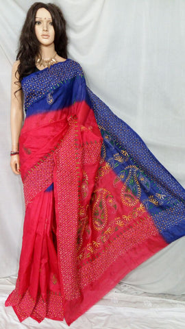 Red Blue Bhagalpuri Silk Sarees