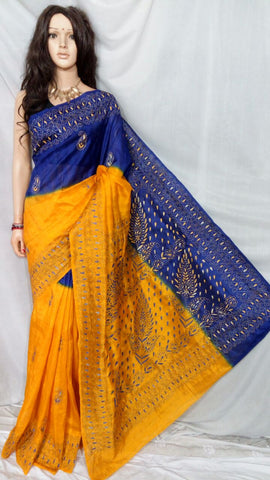 Yellow Blue Bhagalpuri Silk Sarees