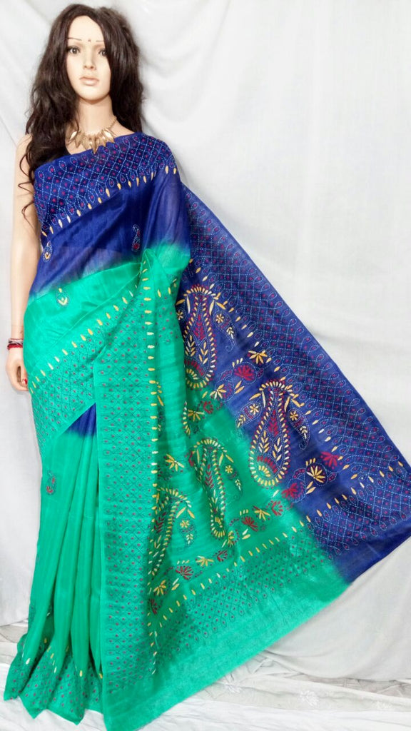 Green Blue Bhagalpuri Silk Sarees