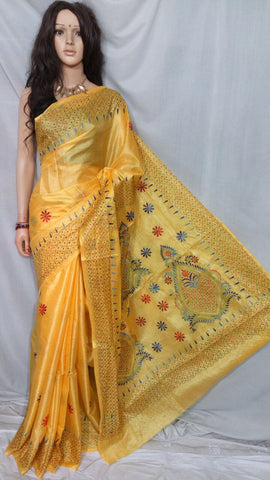 Yellow Bhagalpuri Silk Sarees