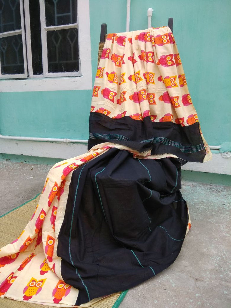 Balck Orange Cotton Khesh Sarees