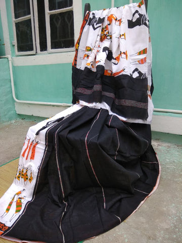 Balck Cotton Khesh Sarees
